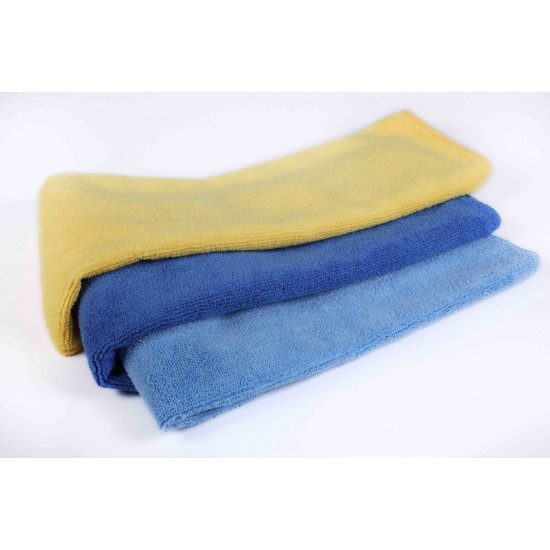 Microfibre Towels Blue, Green and Yellow