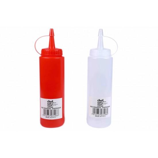 White, Red 8oz Squeeze Dispenser