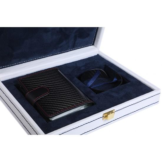 Carbon Fibre Business cardholder and wrist Band Set